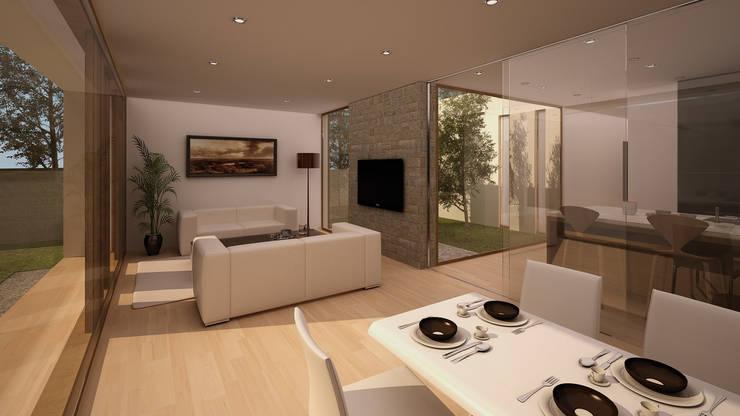 Vivienda Unifamiliar: Salones de estilo  de GodoyArquitectos