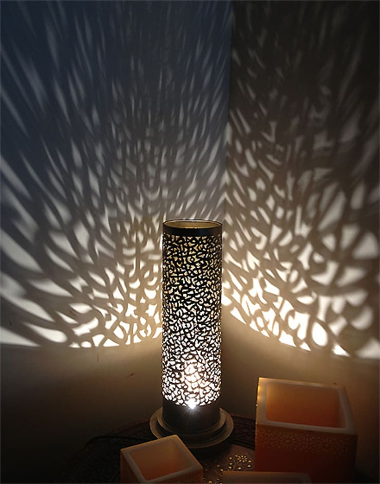 Calligraphy Table Lamp in Silver:  Bedroom by Moroccan Bazaar