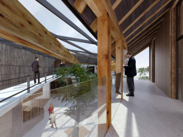 widok na hol: styl , w kategorii Biurowce zaprojektowany przez Pracownia Świętego Józefa,Skandynawski