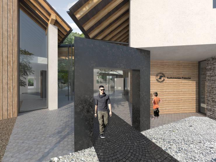 wejście do budynku: styl , w kategorii Biurowce zaprojektowany przez Pracownia Świętego Józefa,Nowoczesny