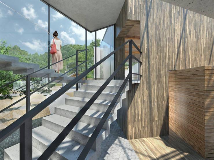 klatka schodowa - widok na salę konferencyjną: styl , w kategorii Centra kongresowe zaprojektowany przez Pracownia Świętego Józefa,Rustykalny