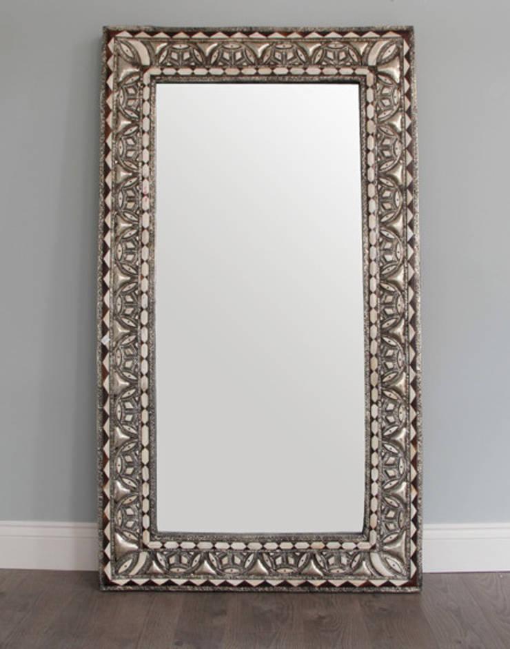 Bone Encrusted Medium Moroccan Mirror:  Dressing room by Moroccan Bazaar