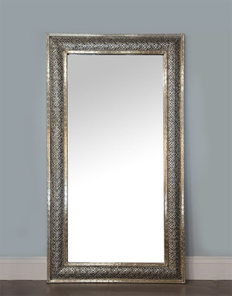 Moroccan White Metal Etched Mirror:  Dressing room by Moroccan Bazaar