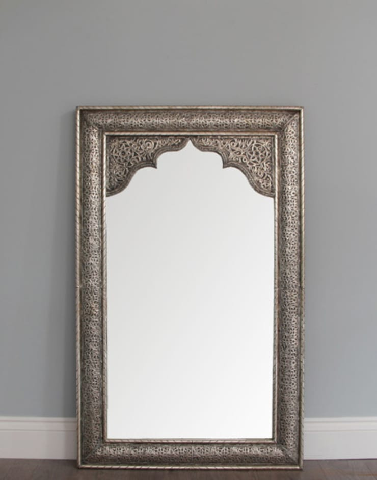 Moroccan Silver Mirror - Antique Finish:  Dressing room by Moroccan Bazaar