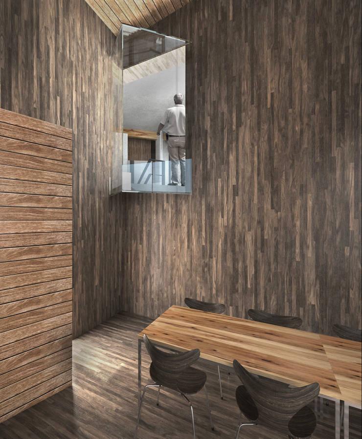 sala konferencyjna - widok na klatkę schodową: styl , w kategorii Centra kongresowe zaprojektowany przez Pracownia Świętego Józefa,Nowoczesny