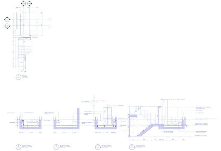 Peponi House - Section showing Terrace:   by STUDIO [D] TALE