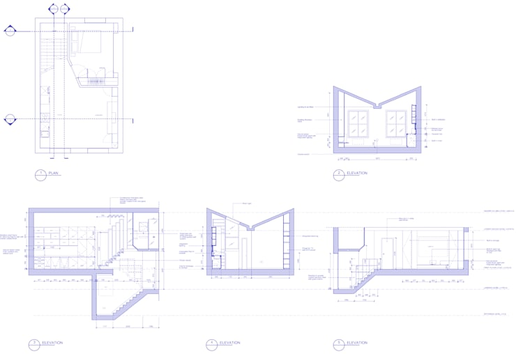 Peponi House - Section showing Living & Kitchen:   by STUDIO [D] TALE