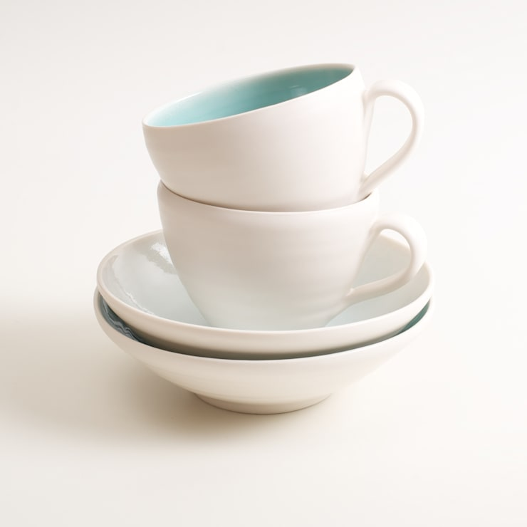 Handmade porcelain cups and saucers:  Dining room by Linda Bloomfield