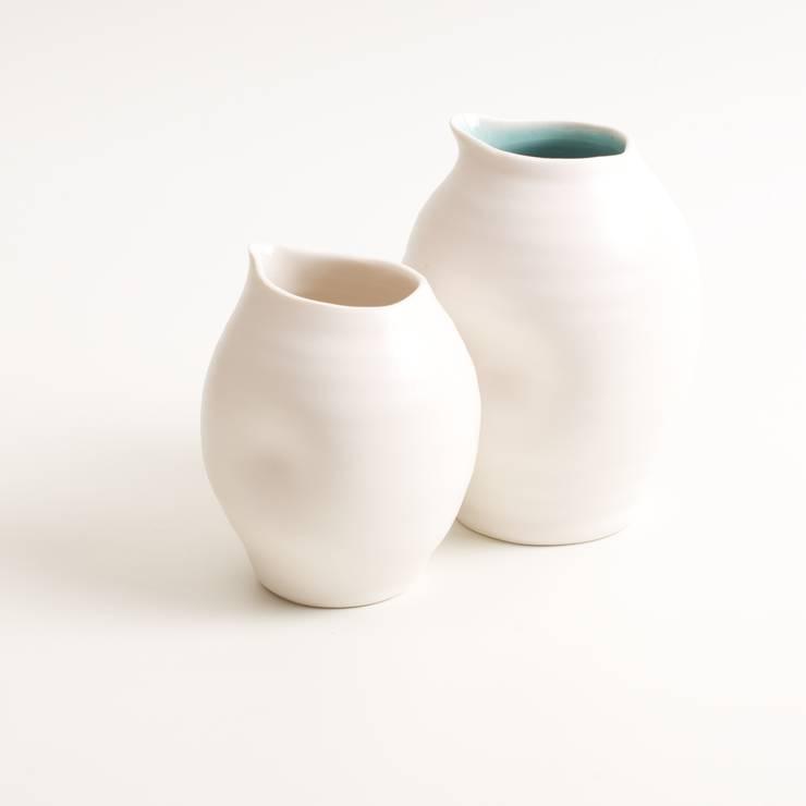 Handmade porcelain dimpled bottles:  Dining room by Linda Bloomfield