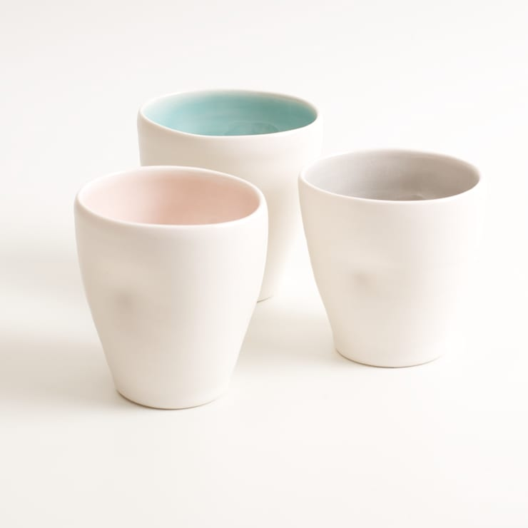 Handmade porcelain dimpled cups:  Dining room by Linda Bloomfield