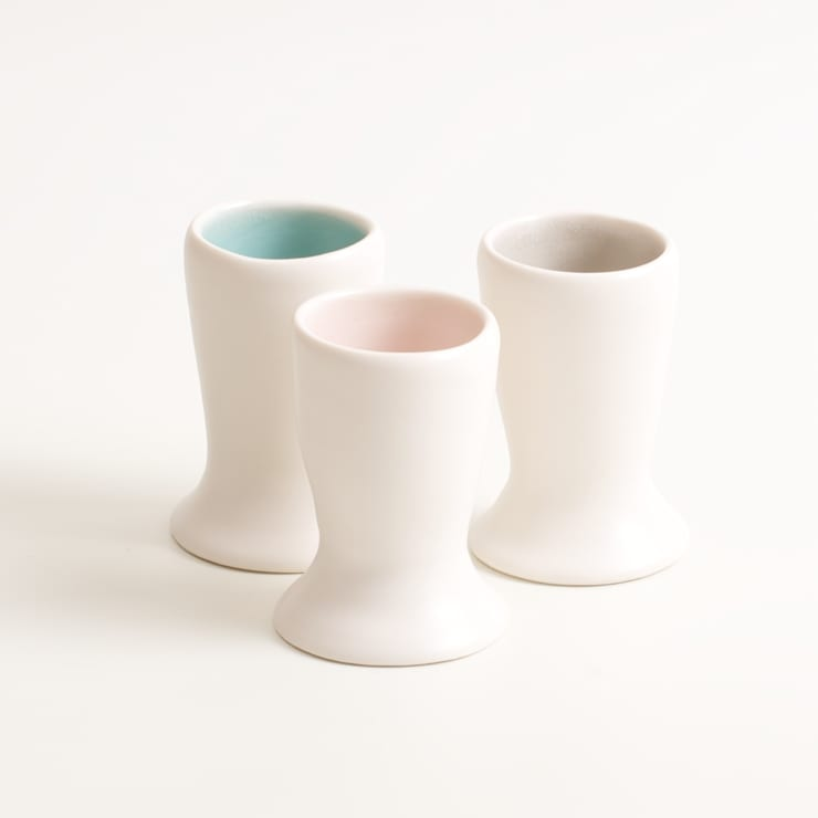 Handmade porcelain egg cups:  Dining room by Linda Bloomfield