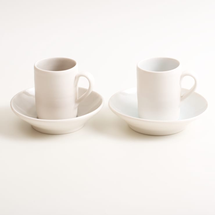 Handmade espresso cups and saucers:  Dining room by Linda Bloomfield