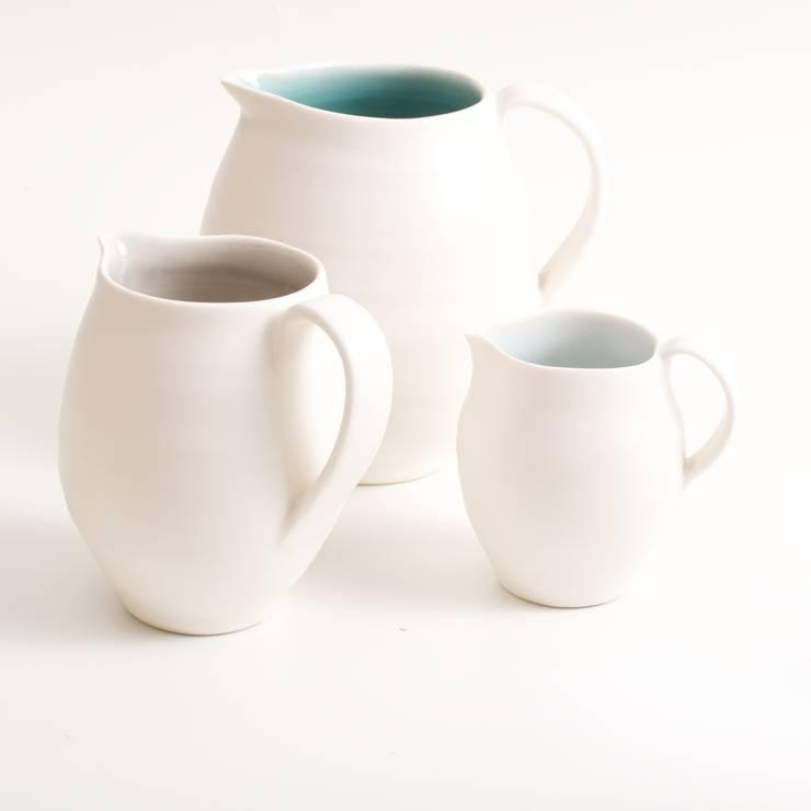 Handmade porcelain jugs:  Dining room by Linda Bloomfield
