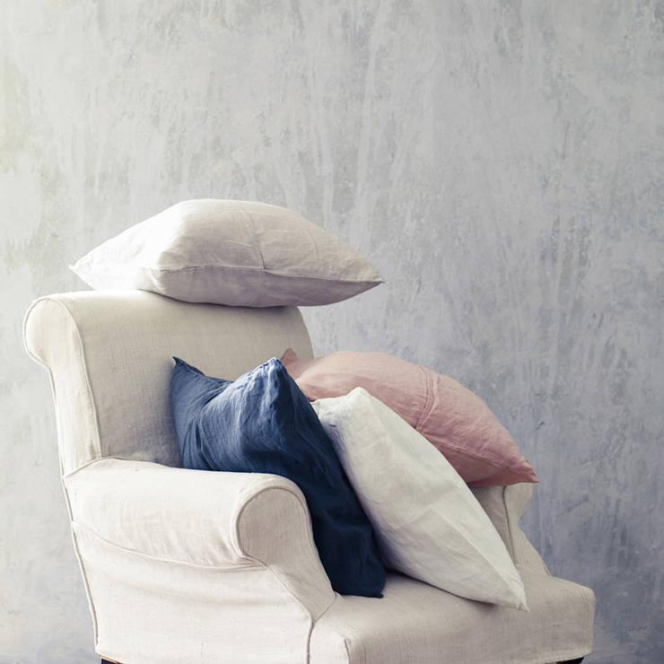 Towan Linen Cushion Cover:  Living room by Rowen & Wren