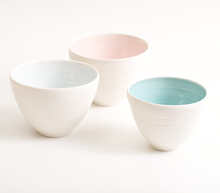 Handmade porcelain bowls:  Dining room by Linda Bloomfield