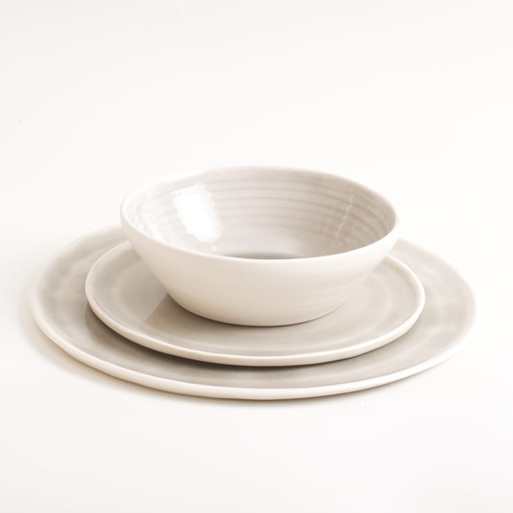 Handmade porcelain place setting:  Dining room by Linda Bloomfield