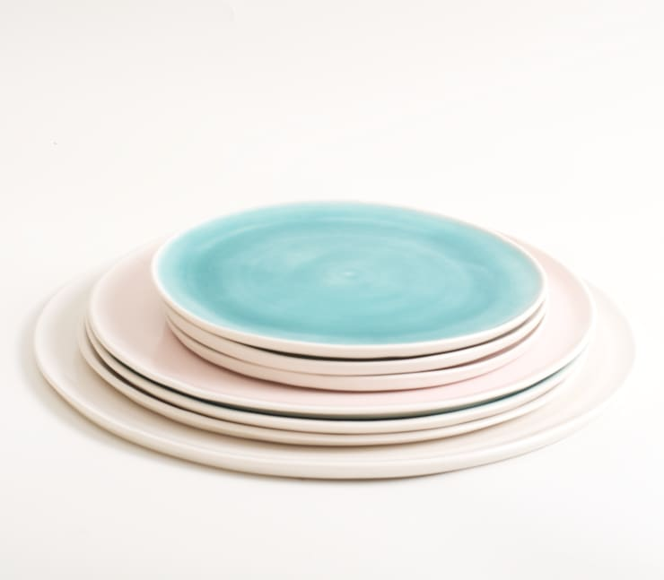 Handmade porcelain plates:  Dining room by Linda Bloomfield
