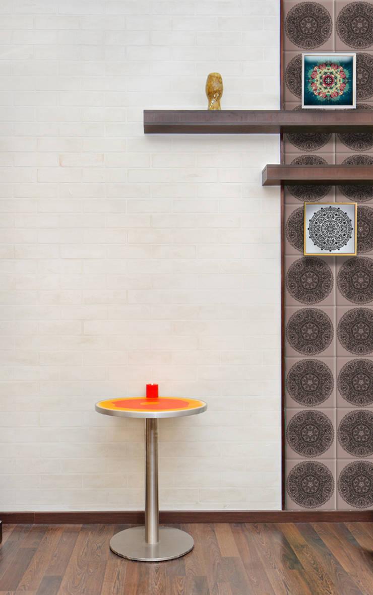 Indian Pattern Tiles:  Living room by Tile Fire Ltd.