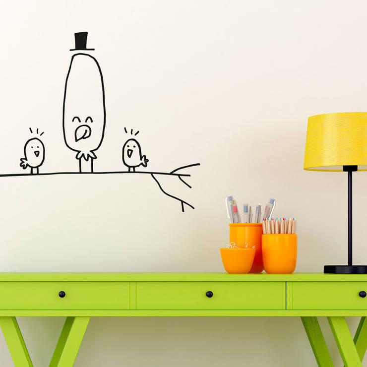 Vinilo infantil Pájaros en rama: Habitaciones infantiles de estilo  de Chispum