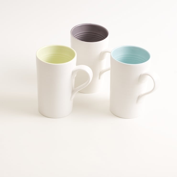 Tactile porcelain mugs:  Dining room by Linda Bloomfield