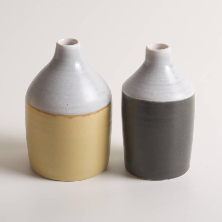 Handmade two-toned porcelain bottles:  Artwork by Linda Bloomfield