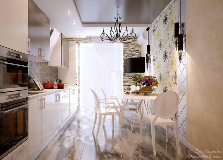 """Дизайн кухни в стиле фьюжн в ЖК """"Солнечный город"""": Кухни в . Автор – Студия интерьерного дизайна happy.design, Модерн"""