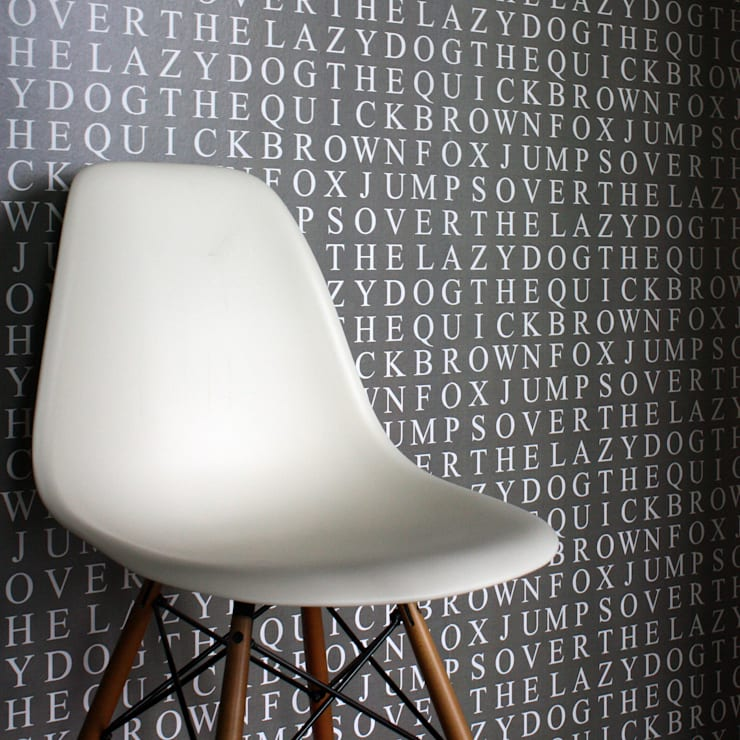 Quick Brown Fox Wallpaper - Taupe:  Walls & flooring by Identity Papers