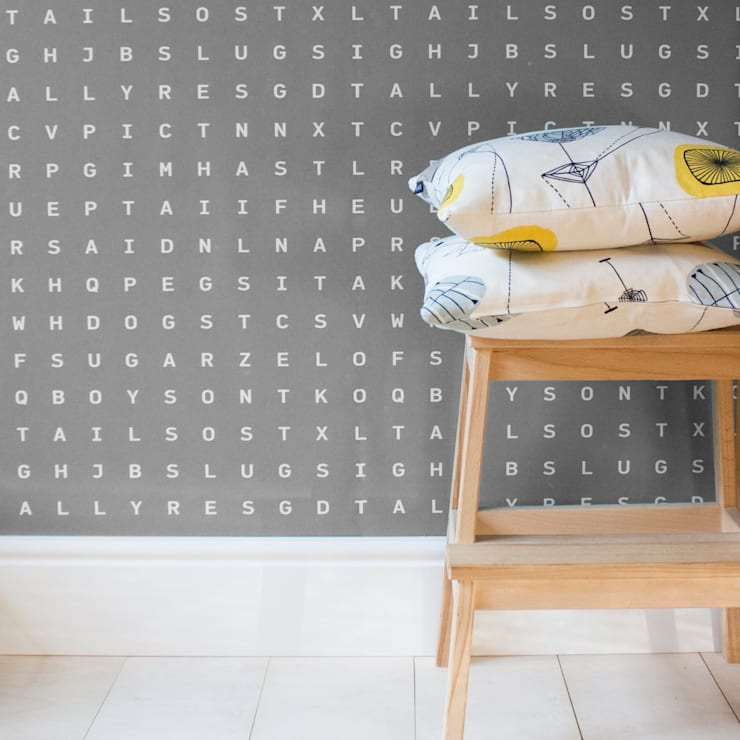 Sugar & Slugs Wallpaper - Grey:  Walls & flooring by Identity Papers