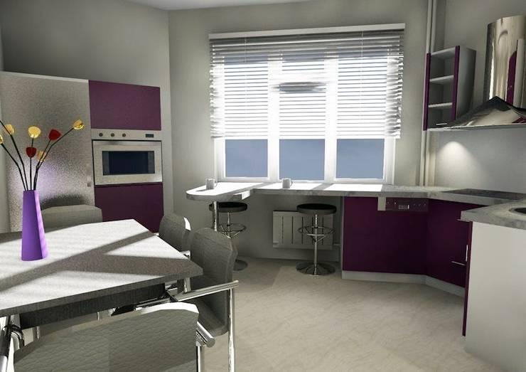 Дизайн-проект кухни 12 кВ.м с нестандартной планировкой:  в . Автор – Мастерская Дизайна