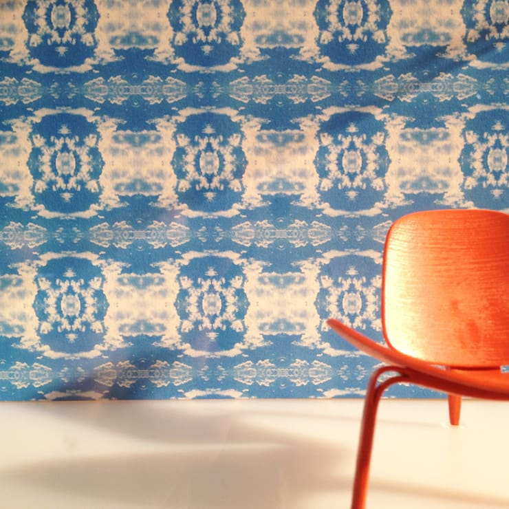 Cloud Rococo Wallpaper - Happy Blue:  Walls & flooring by Identity Papers