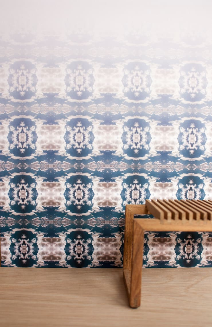 Cloud Rococo Ombre Wallpaper - Moody Blue:  Walls & flooring by Identity Papers