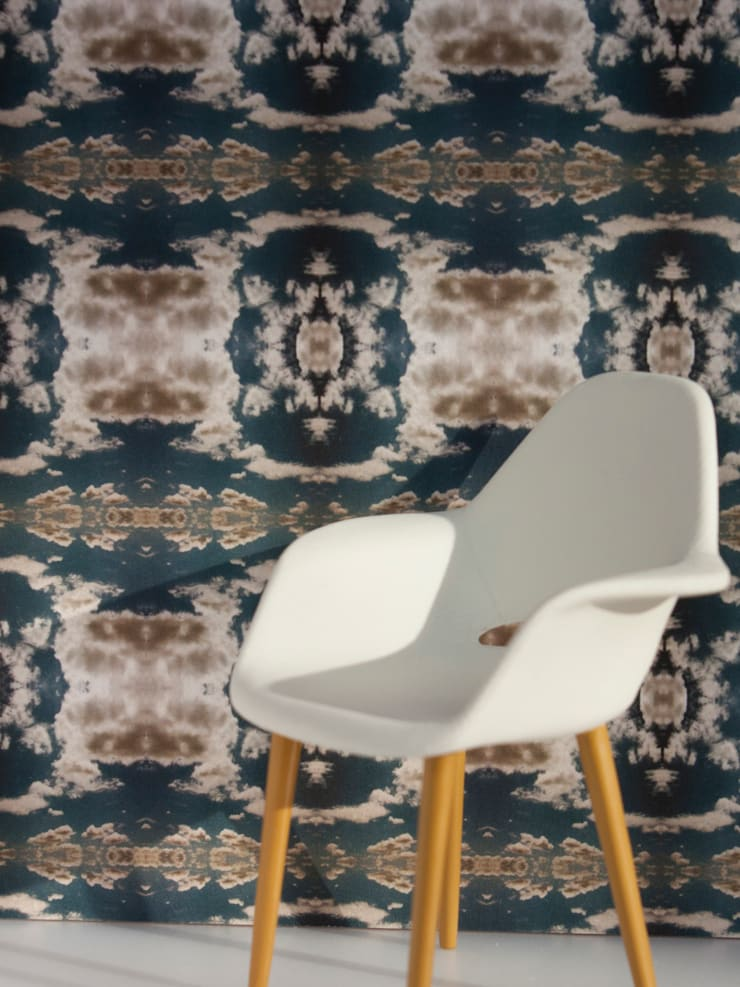 Cloud Rococo Wallpaper - Moody Blue:  Walls & flooring by Identity Papers