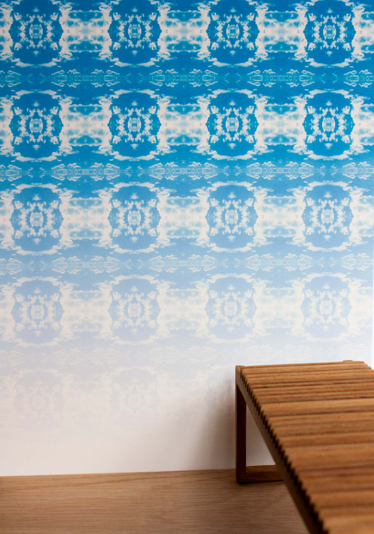 Coud Rococo Ombre Wallpaper - Happy Blue:  Walls & flooring by Identity Papers