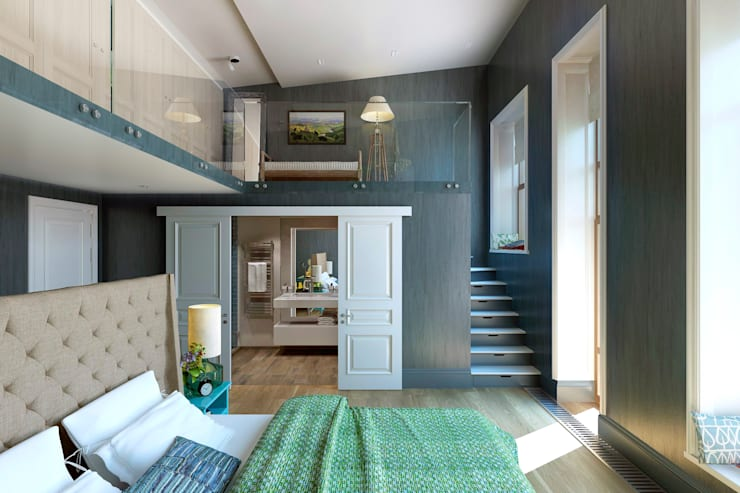 Двухуровневая спальня: Спальни в . Автор – lab21studio