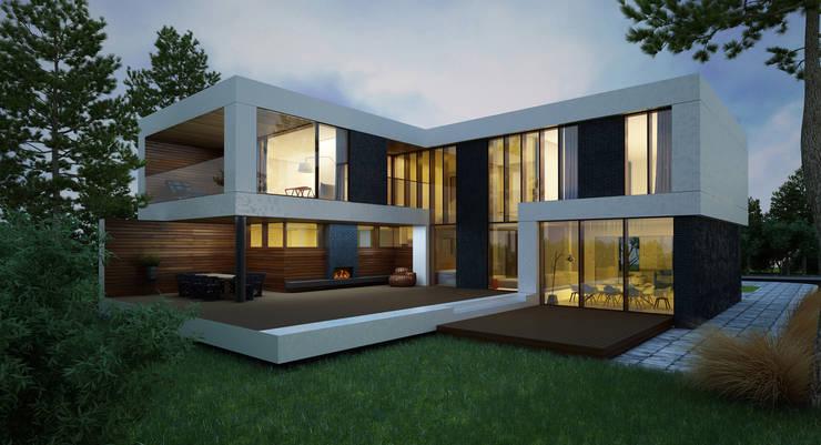 ДОМ В ПОСЕЛКЕ МАРТЕМЬЯНОВО: Дома в . Автор –  Aleksandr Zhydkov Architect
