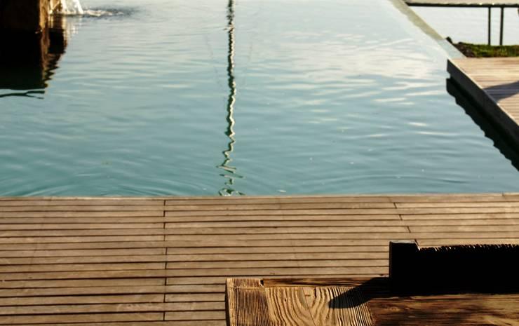 agua ,piedra y madera: Piletas de estilo ecléctico por PARQUEARTE  Piscinas como iconos de diseño.