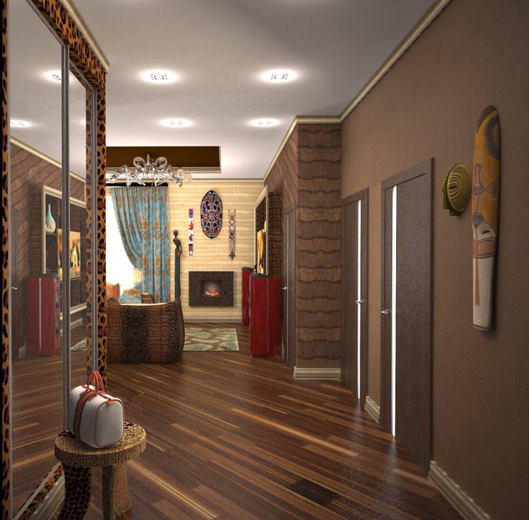 Гостиная в стиле ариканского сафари: Коридор и прихожая в . Автор – Гурьянова Наталья, Тропический