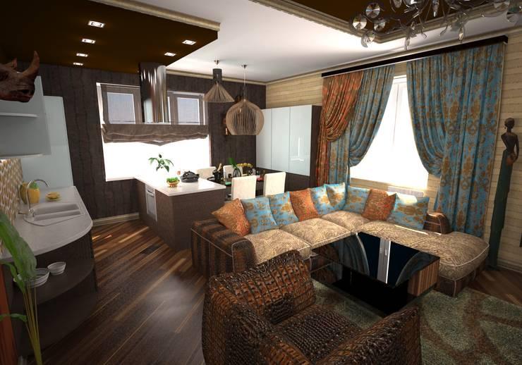 Гостиная в стиле ариканского сафари: Гостиная в . Автор – Гурьянова Наталья, Тропический