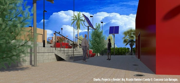 Plaza Acceso a Biblioteca Digital: Casas de estilo  por Ramírez Cuesta Arquitectos