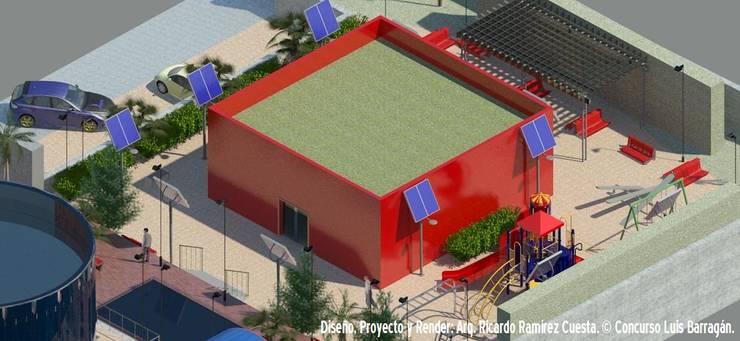 Vista Biblioteca Digital y Área de Juegos Infantiles: Casas de estilo  por Ramírez Cuesta Arquitectos