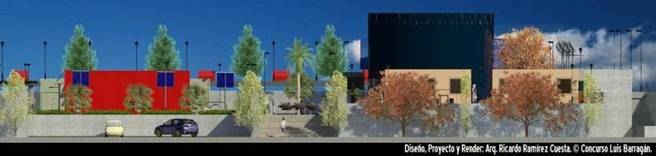 Fachada Principal Plaza Luis Barragán: Casas de estilo  por Ramírez Cuesta Arquitectos
