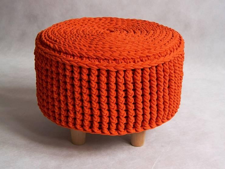 Ręcznie wykonana, dziergana, szydełkowana pufa model PARIS 45cm, materiał bawełna, kolor 20: styl , w kategorii Salon zaprojektowany przez RENATA NEKRASZ art & design