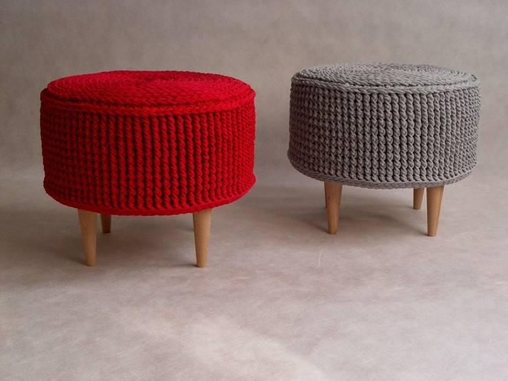 Ręcznie wykonana, dziergana, szydełkowana pufa model PARIS 55cm, materiał bawełna: styl , w kategorii Salon zaprojektowany przez RENATA NEKRASZ art & design