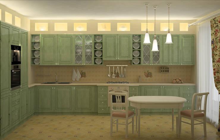 Cocinas de estilo  por ООО ПрофЭксклюзив Студия дизайна интерьеров, Rural