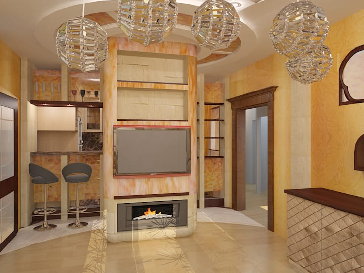Гостиные: Гостиная в . Автор – ООО ПрофЭксклюзив Студия дизайна интерьеров