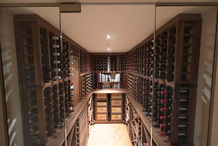 Wine Cellar in American black walnut designed and made by Tim Wood:  Wine cellar by Tim Wood Limited