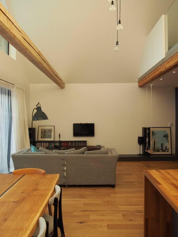 dom 150m2: styl , w kategorii Salon zaprojektowany przez Projekt Kolektyw Sp. z o.o.