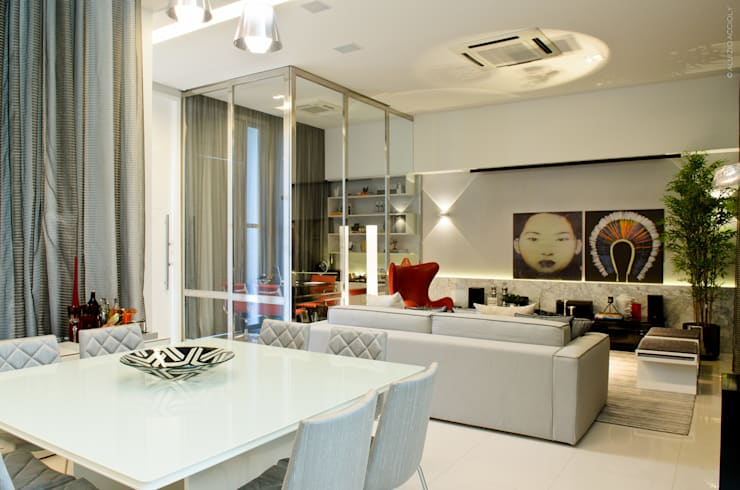 LIVING: Salas de estar  por RODRIGO FONSECA | ARQUITETURA E INTERIORES,Moderno