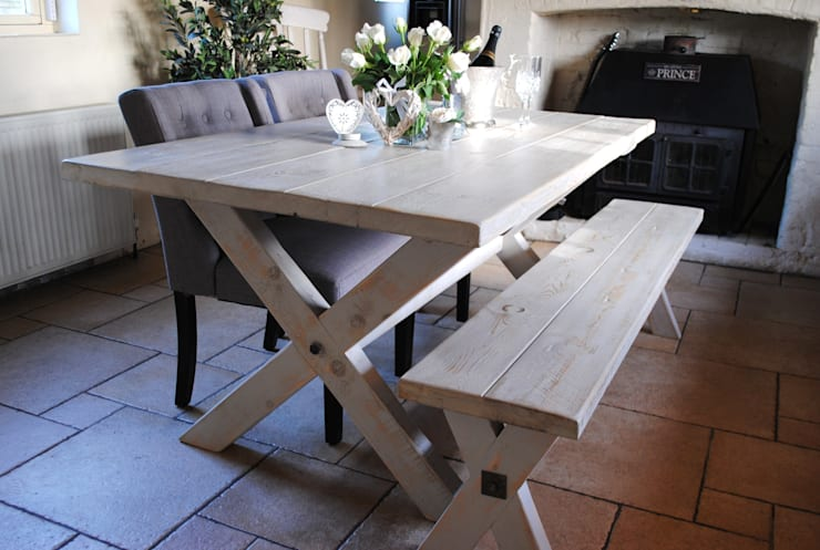 Handmade X frame Tables and matching benches:  Kitchen by Dove and Grey