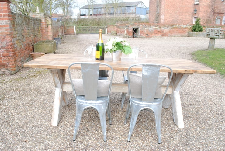 X Frame Dining table:  Kitchen by Dove and Grey